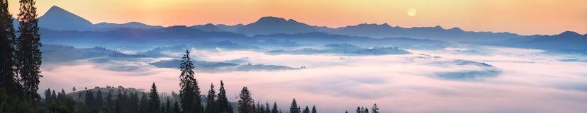 Salida del sol de niebla en las montañas cárpatas Fotografía de archivo