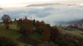 Salida del sol de niebla en montañas cárpatas almacen de metraje de vídeo