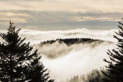 Salida del sol de niebla en Ridge Parkway azul imagen de archivo