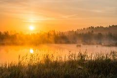 Salida del sol de niebla sobre el lago Foto de archivo