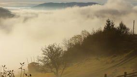 Salida del sol de niebla y caliente en montañas cárpatas almacen de video