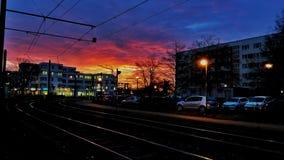 Salida del sol de Rostock foto de archivo