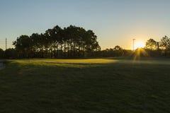 Salida del sol del campo de golf e hierba ajardinada orlando Fotografía de archivo