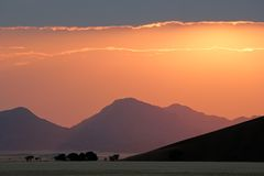 Salida del sol del desierto, Sossusvlei, Namibia Foto de archivo