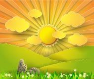 Salida del sol del ejemplo del vector sobre la montaña Imágenes de archivo libres de regalías