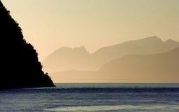 Salida del sol del fiordo de Noruega Fotografía de archivo