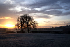 Salida del sol del invierno de Derbyshire Fotografía de archivo