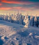 Salida del sol del invierno de Olorful en las montañas Fotos de archivo
