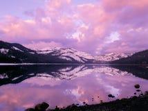 Salida del sol del invierno del lago Donner Foto de archivo libre de regalías