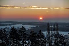 Salida del sol del invierno en Polonia Imagen de archivo