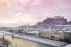 Salida del sol del invierno en Salzburg Fotos de archivo