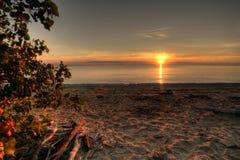 Salida del sol del lago Erie Foto de archivo libre de regalías