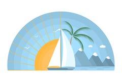 Salida del sol del mar con el velero, las montañas y la palmera Fotografía de archivo