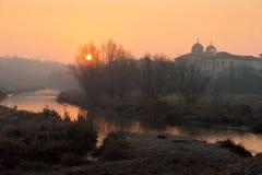Salida del sol del monasterio Imagen de archivo