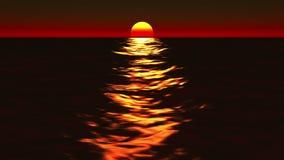 Salida del sol del océano y colocación hermosas de la puesta del sol ilustración del vector