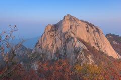 Salida del sol del pico de Baegundae, Autumn Season en las montañas de Bukhansan Fotos de archivo libres de regalías