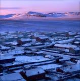 Salida del sol del prado del invierno Fotos de archivo