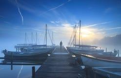 Salida del sol del puerto deportivo Imágenes de archivo libres de regalías