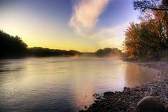 Salida del sol del río Imagen de archivo