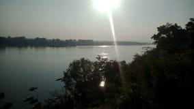 Salida del sol del río Danubio Foto de archivo libre de regalías