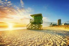 Salida del sol del sur de la playa de Miami Imagenes de archivo
