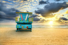 Salida del sol del sur de la playa de Miami Imágenes de archivo libres de regalías