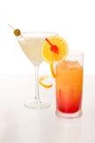 Salida del sol del Tequila y coctel de martini Foto de archivo libre de regalías