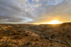 Salida del sol del desierto Imagen de archivo libre de regalías