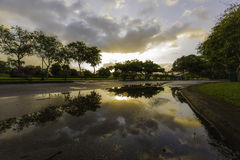 Salida del sol después de llover Fotos de archivo libres de regalías
