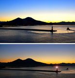 Salida del sol el monte Vesubio Imagen de archivo libre de regalías