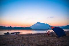 Salida del sol el río Mekong Fotografía de archivo libre de regalías