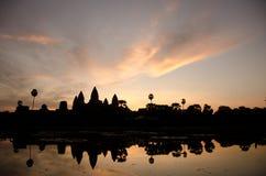 Salida del sol en Angkor Wat Imagen de archivo
