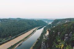 Salida del sol en Bastei, Alemania Imagenes de archivo