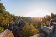 Salida del sol en Bastei, Alemania Fotos de archivo libres de regalías