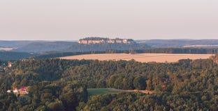 Salida del sol en Bastei, Alemania Imagen de archivo libre de regalías