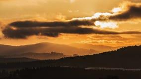 Salida del sol en Bohemia del sur Foto de archivo