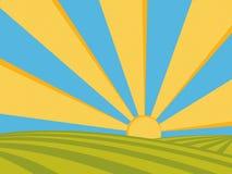 Salida del sol en campos stock de ilustración