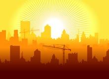 Salida del sol en ciudad Imágenes de archivo libres de regalías