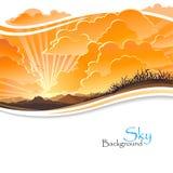 Salida del sol en colinas rocosas libre illustration