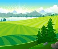 Salida del sol en colinas verdes stock de ilustración