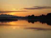 Salida del sol en delta Imagenes de archivo