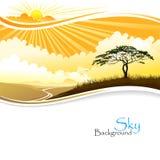Salida del sol en desierto africano stock de ilustración