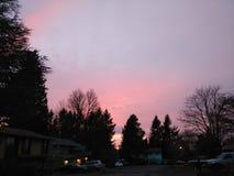 Salida del sol en diciembre foto de archivo