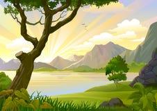 Salida del sol en el Amazonas stock de ilustración