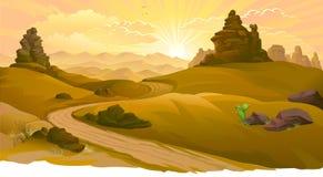 Salida del sol en el camino al desierto de Mojave ilustración del vector