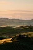 Salida del sol en el d'Orcia de Val, Toscana Foto de archivo