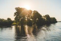 Salida del sol en el delta de Danubio Fotos de archivo libres de regalías