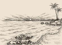 Salida del sol en el dibujo de la playa ilustración del vector