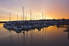 Salida del sol en el embarcadero Imagen de archivo