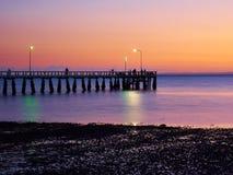 Salida del sol en el embarcadero en Wellington Point Queensland Imagen de archivo libre de regalías